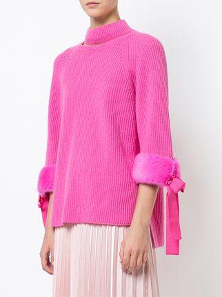2451ebf7470995 Fendi cut out high neck sweater with faux fur cuffs   Knitwear ...