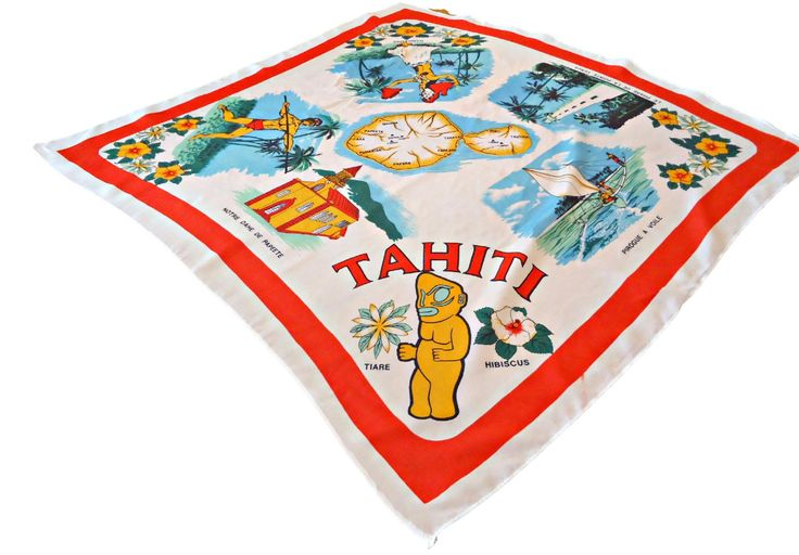 Vintage Scarf Souvenir Tahiti White Red by treasurecoveally on Etsy