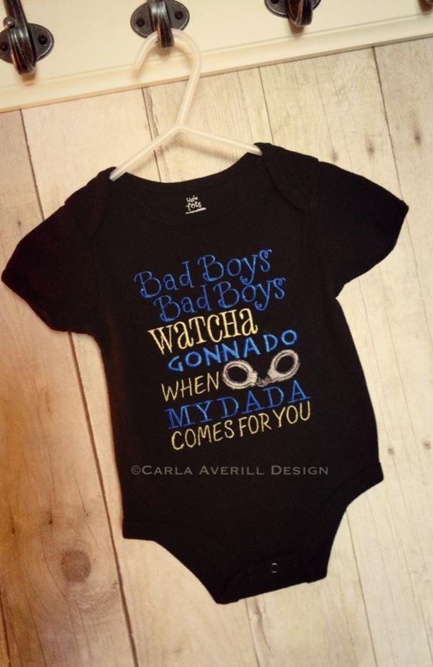 Police daddy onesie. Carla Averill Design. https://www.facebook.com/pages/Carla-Averill-Design/167126398880