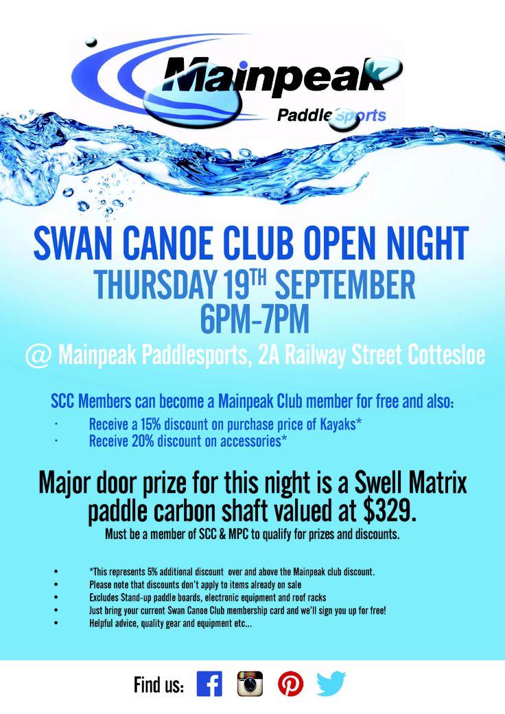 Swan Canoe Club Open night @ Mainpeak paddle shop