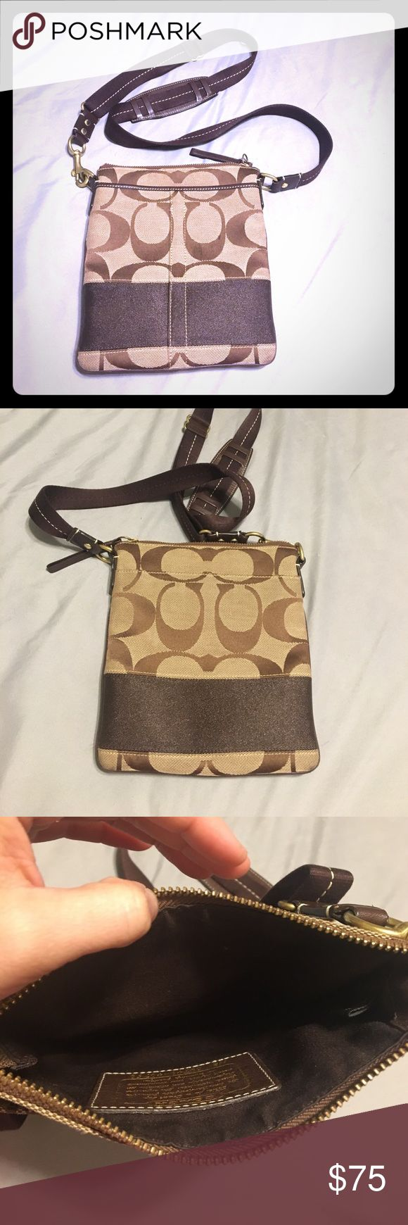 Coach Swingpack in brown Coach swingpack in brown, great condition, hardly used. Has one big pocket with zipper and two additional pockets (without zipper) on the front and back of the bag. Coach Bags Crossbody Bags