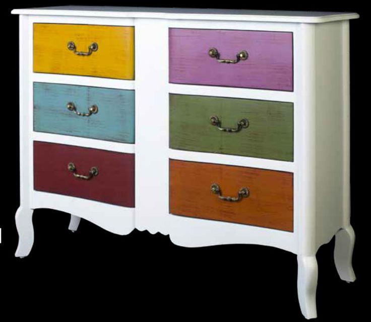 comoda cajones colores en blanco estilo vintage ref: 7051-3, esta y otras del mismo estilo en: http://rusticocolonial.es/mueble-vintage-de-gran-calidad-al-mejor-precio/comodas-y-aparadores-vintage-de-gran-calidad-al-mejor-precio
