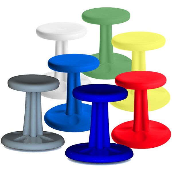 Kore Design's Kore Wobble Chair allows students to expend energy as they sit and work in class. Unlike therapy balls, this Wobble Chair stays in place when you stand and resists tipping over. The durable molded plastic chair rocks 360 degrees, including from side to side and front to back. Choose f