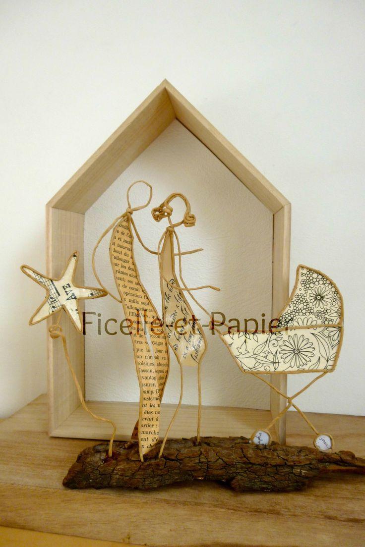 Heureux parents - figurines en ficelle et papier