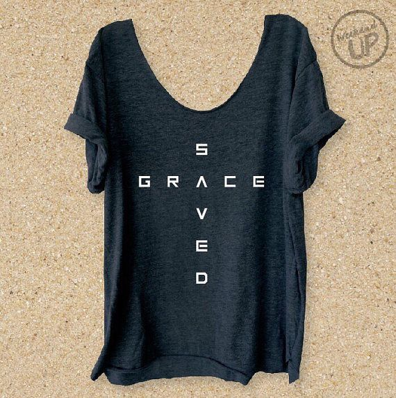 Saved By Grace Grey Slouchy Boyfriend Tee Scripture by weekendUP
