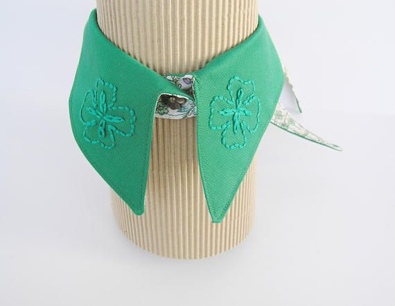 Green embroidered collar necklace Adjustable emerald fake
