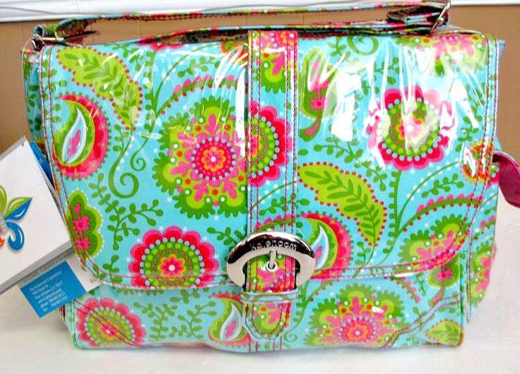 Kalencom Laminated Diaper Bag Buckle Style 2960 Wildflower Garden Aqua $79.99 www.specialtykidswear.com