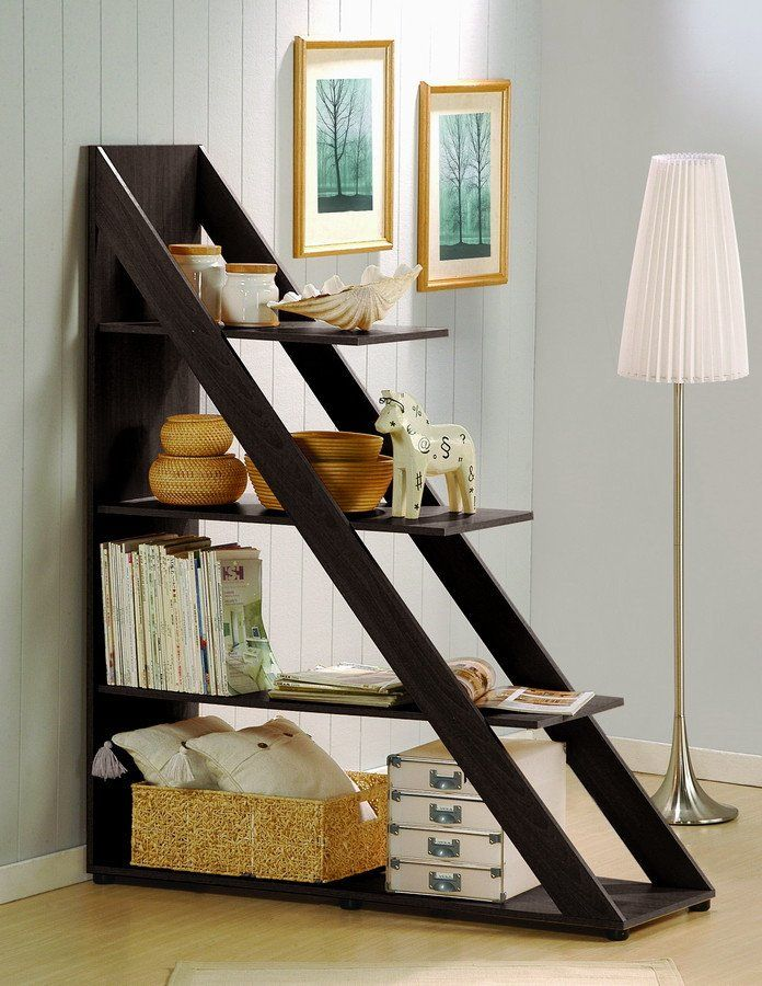 The Terrace Shelving Unit is a versatile diagonally-designed display shelf that works equally well against a wall or as a small room divider. Engineered wood is finished with wenge faux wood grain ven