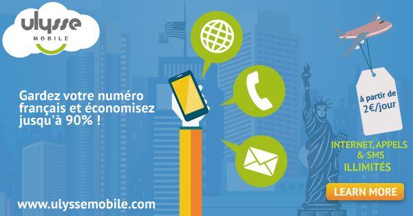 Les services proposés par l'opérateur Ulysse Mobile pour téléphoner, envoyer des SMS et surfer sur Internet en illimité aux États-Unis.
