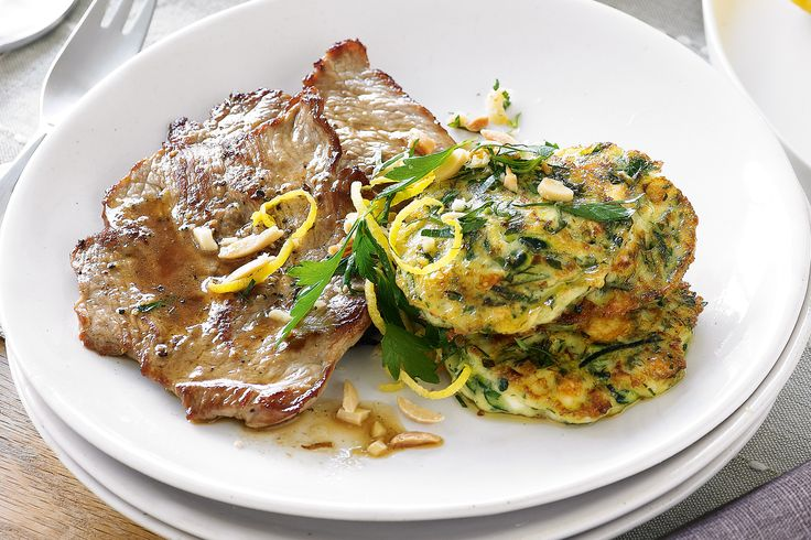 Pan Fried Veal with Zucchini and Feta Fritters