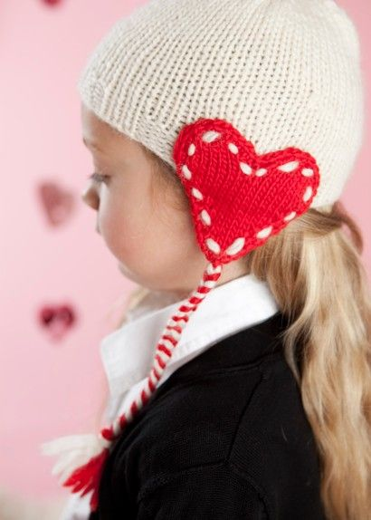 Inspiration: Valentine's Story. Knitted heart earflap hat. Pattern from 'Knitting Today, Issue 02'
