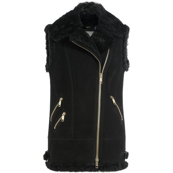 Burberry Brit Suede and Shearling Biker Vest (12 365 SEK) ❤ liked on Polyvore featuring outerwear, vests, black, sheep fur vest, slim fit vest, burberry, suede leather vest and asymmetrical vest