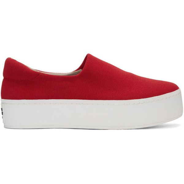 Opening Ceremony Red Cici Slip-On Sneakers ($125) ❤ liked on Polyvore featuring shoes, sneakers, red, platform shoes, platform slip on shoes, opening ceremony shoes, round cap and slip on shoes