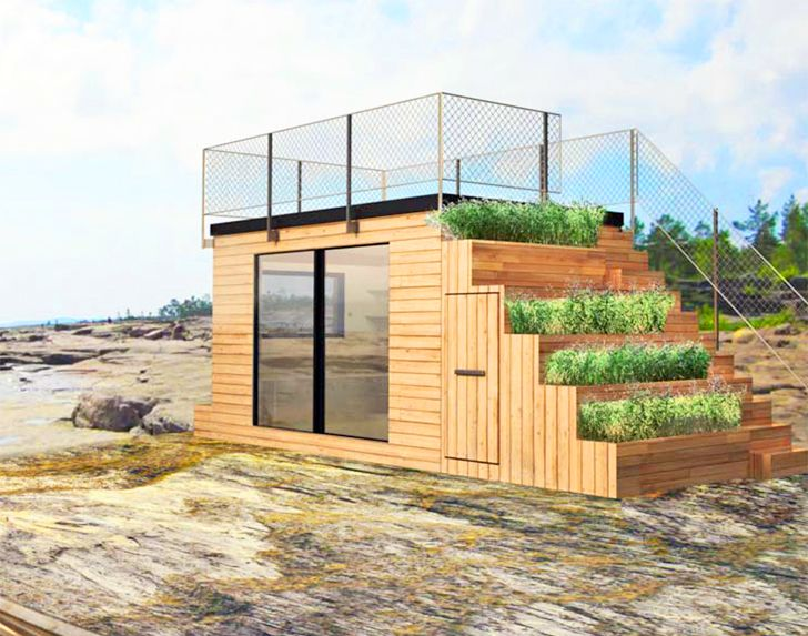 Steps is a tiny Swedish shelter with green steps that lead to a rooftop terrace | Inhabitat - Sustainable Design Innovation, Eco Architecture, Green Building