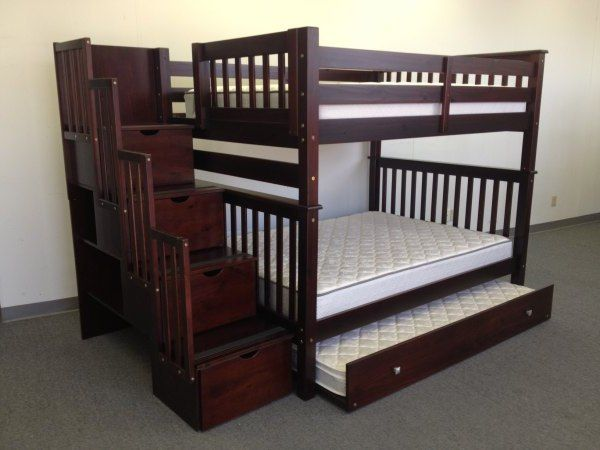 bunk beds full over full stairway cappuccino trundle triple bunk beds storage and guest rooms. Black Bedroom Furniture Sets. Home Design Ideas