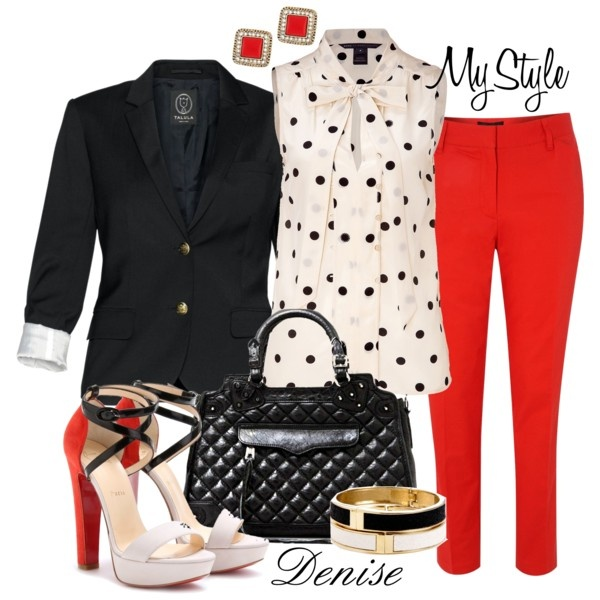 White, Black, Red Pant Ensemble (Created by deniselanders): Polka Dots, Red Skinny, Crop Trousers, Black White, Black Flats, Work Outfits, Black Blazers, Red Pants, Red Crop