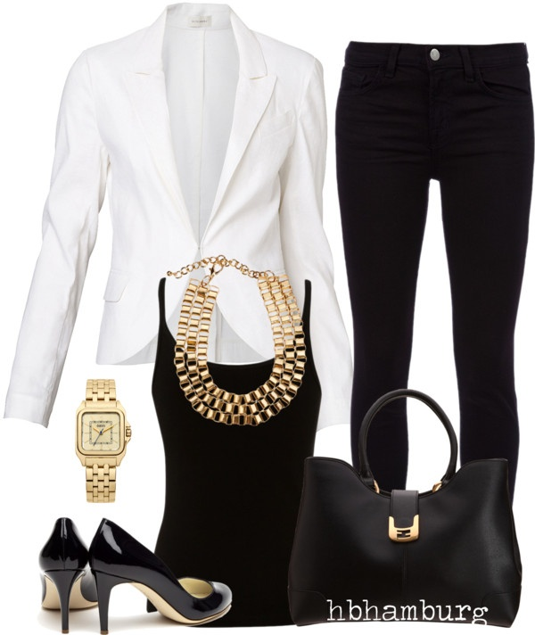 """No. 143 - Gold/Black/White"" by hbhamburg on Polyvore"
