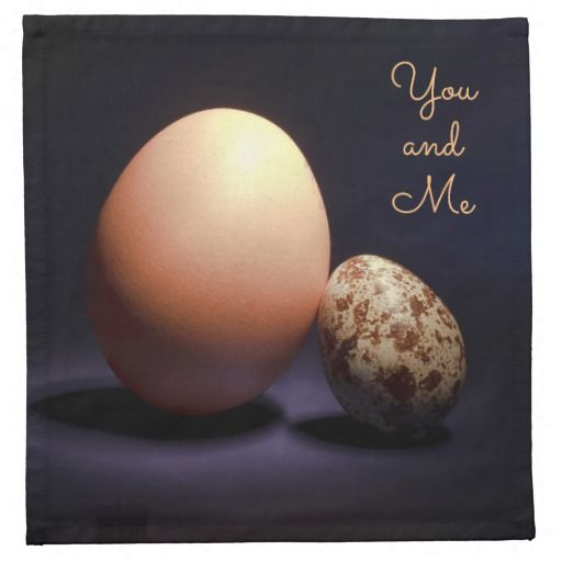 Chicken and quail eggs in love. Text «You and Me». Cloth Napkin #clothnapkins #napkins #chicken #quail #eggs #love #couple #lovers #beige #darkblue #stilllife #photography #darkness #funny #photo #food #kiychen #valentinesday #youandme #customized #personalized #graphics #artwork #buy #sale #giftideas #zazzle #discount #deals #gifts #shopping