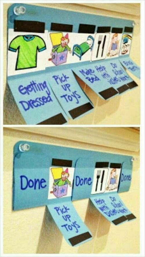 What an easy way to keep track of the beginning of a chore chart. Use a manila folder, cut fold it in half, slice it into 5-ish chores and add magnetic tape for opening and closing when a chore is done. You can open the list each morning to start over. Toddler Tips and Tricks – Hacks for New and Old Moms on Frugal Coupon Living. Toddler Chore Chart.