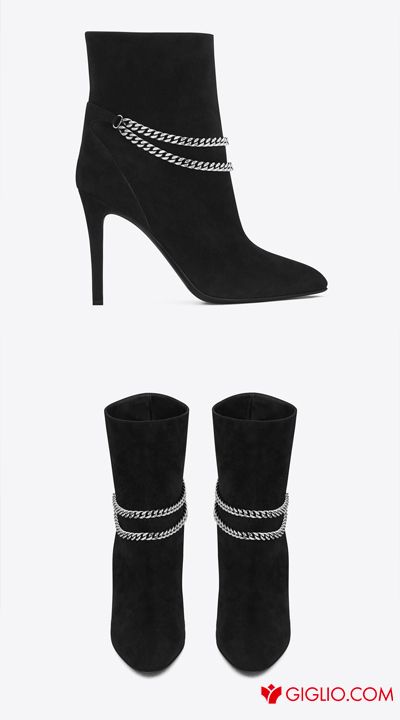 SAINT LAURENT | #ANKLE #BOOTS DEBBIE 100 DOUBLE CHAIN #BLACK #SUEDE  > http://www.giglio.com/eng/shoes-woman_ankle-boots-heel-10-low-boot-leather-and-chain-saint-laurent-358991akp00.html