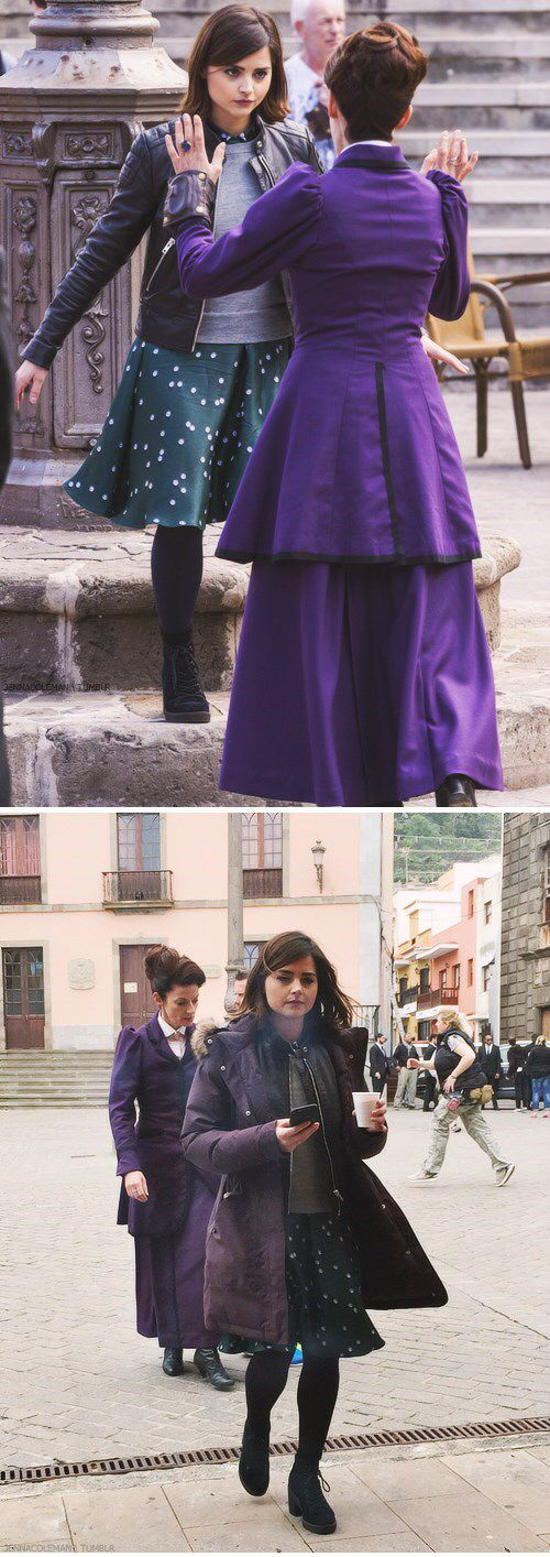 Jenna Coleman and Michelle Gomez Caught On Set In Spain. They're filming the Series 9 premiere.