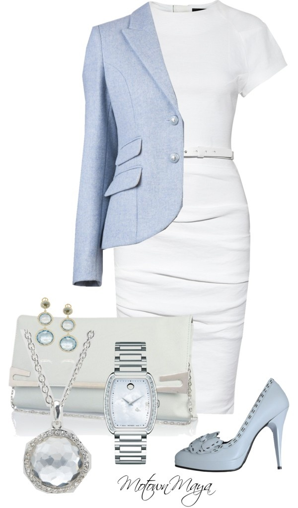 """Pale Blue and White"" by motownmaya ❤ liked on Polyvore"