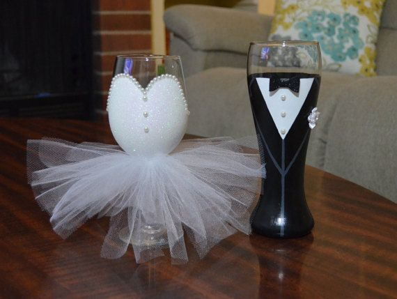 Bride and Groom Wedding Glasses Bride and by BarnandHeartDesign