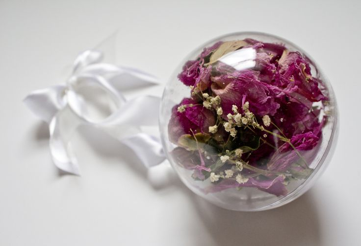 Dried Wedding Flowers In A Christmas Ornament