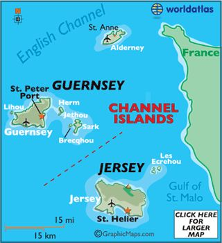 St. Peter Port, Guernsey - Channel Islands Map