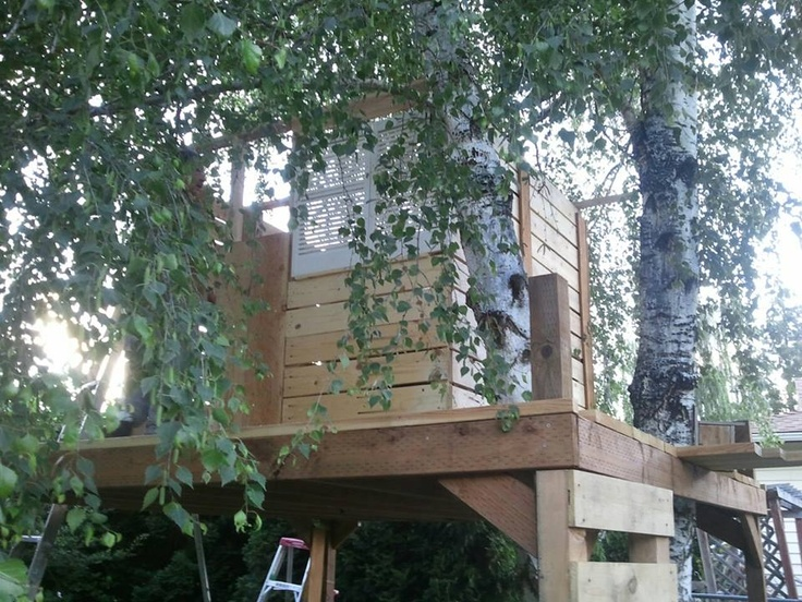 Tree House Made Out Of Recycled Pallets Even The Ladder Is