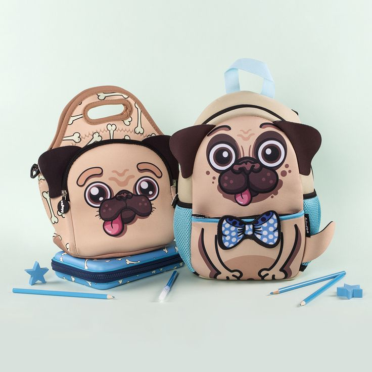 Adorable Pug bag set for kids. Perfect lunch bag and backpack for nursery and school age kids.