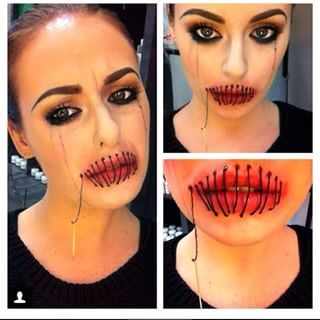 Zipped lips. | 33 Totally Creepy Makeup Looks To Try This Halloween