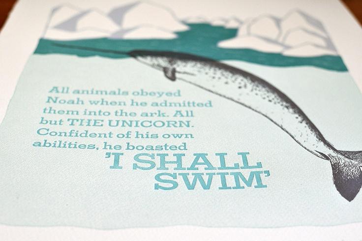 Letterpressed Narwhal, I shall swim - Cecilia Hedin