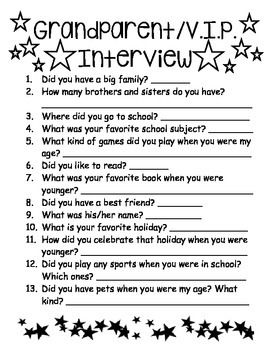 Grandparents Day InterviewThis is an activity I used with my 1st grade students on Grandparent's Day! They loved getting to know their grandparents and special friends (VIP) better with these fun interview questions!                                                                                                                                                                                 More