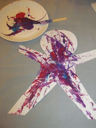 "An easy project for children to do during ""week Of The Young Child"" Cut out a simple child shape and have them paint it purple since purple if the ""theme color"" for WOFTYC =)"
