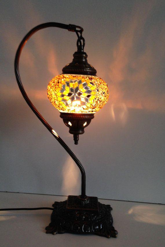 gold swan neck mosaic lamp with vintage look square base. Black Bedroom Furniture Sets. Home Design Ideas