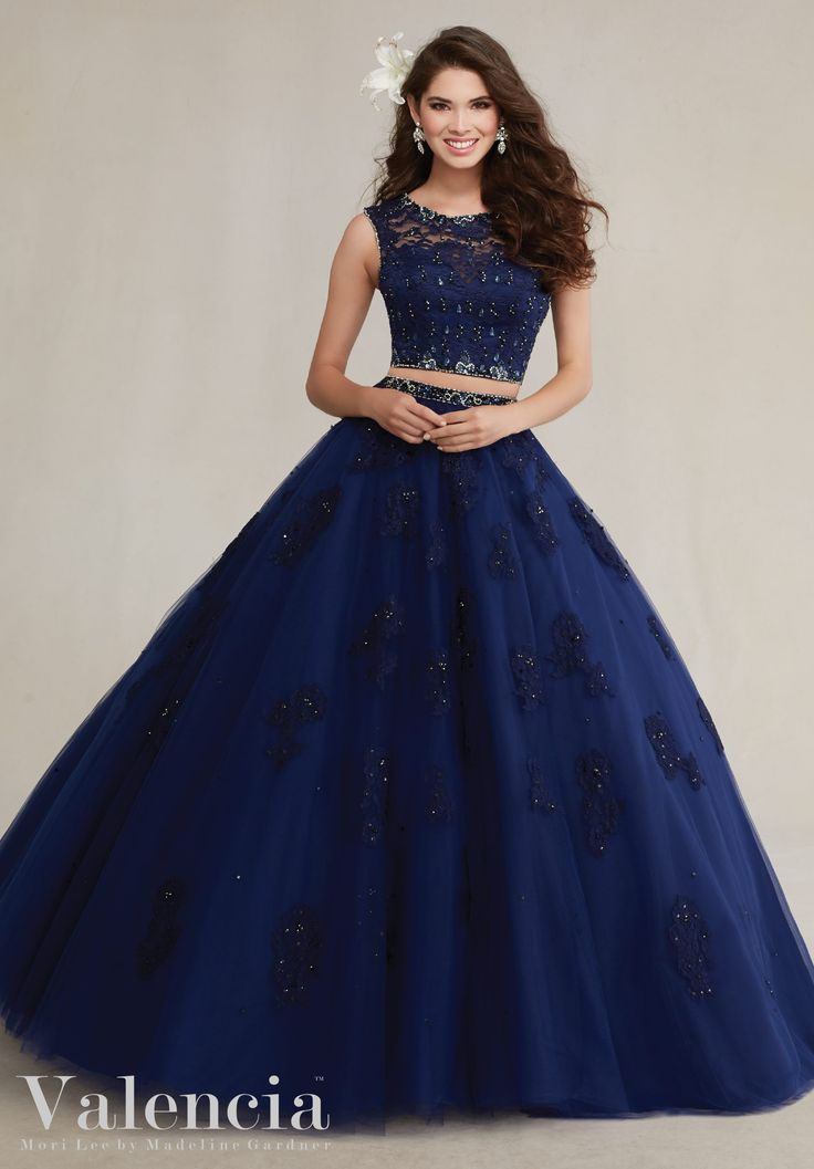 Quinceanera dresses by Vizcaya Two-Piece Tulle Ball Gown with Beaded Lace Appliqués Matching Stole included. Colors: Navy, Blush, Aqua, White.
