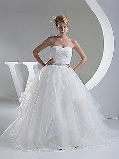 Asymmetrically Tiered Strapless Organza and Satin Wedding Gown - USD $211.00