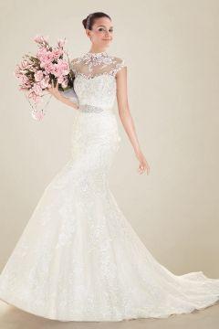 Wedding Dress Mermaid High Neckline Chapel Train with Crystal Brooch