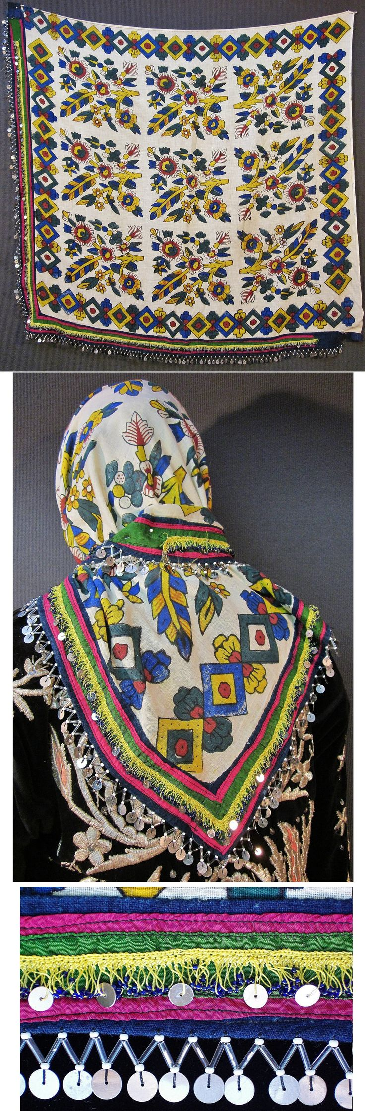 Large 'yazma' (headscarf).  From the Dursunbey district (80 km to the East of Balıkesir), ca. mid-20th century.  Part of a rural festive headgear.  Block-printed cotton, adorned with cotton 'oya' (Turkish needle lace) integrating blue glass beads and metal sequins, and edged (on two sides) with glass beads combined with metal sequins.  (Inv.n° yaz105 - Kavak Costume Collection - Antwerpen/Belgium).
