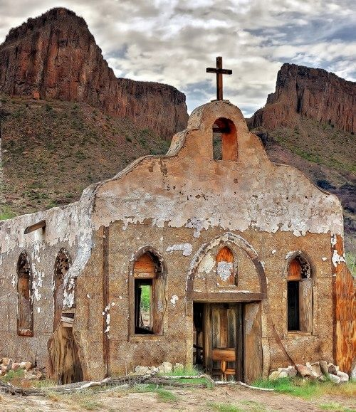 New Mexico, Beautiful old adobe church in the mountains