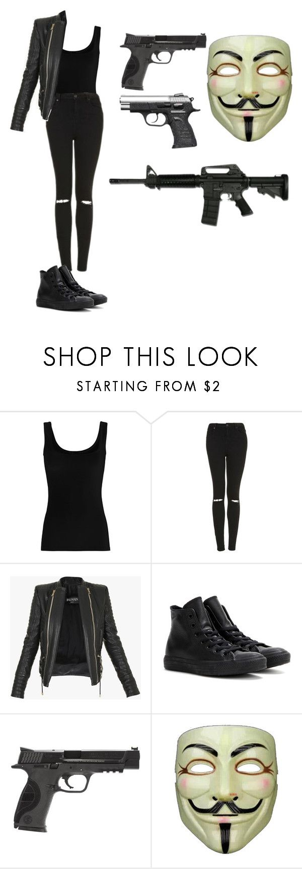 """The purge outfit"" by amelia139 on Polyvore featuring Twenty, Topshop, Balmain, Converse, Smith & Wesson and Chicnova Fashion"
