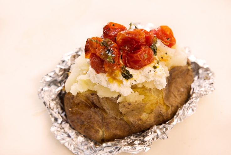 Baked Potato Stuffed with Ricotta and Roasted Tomatoes