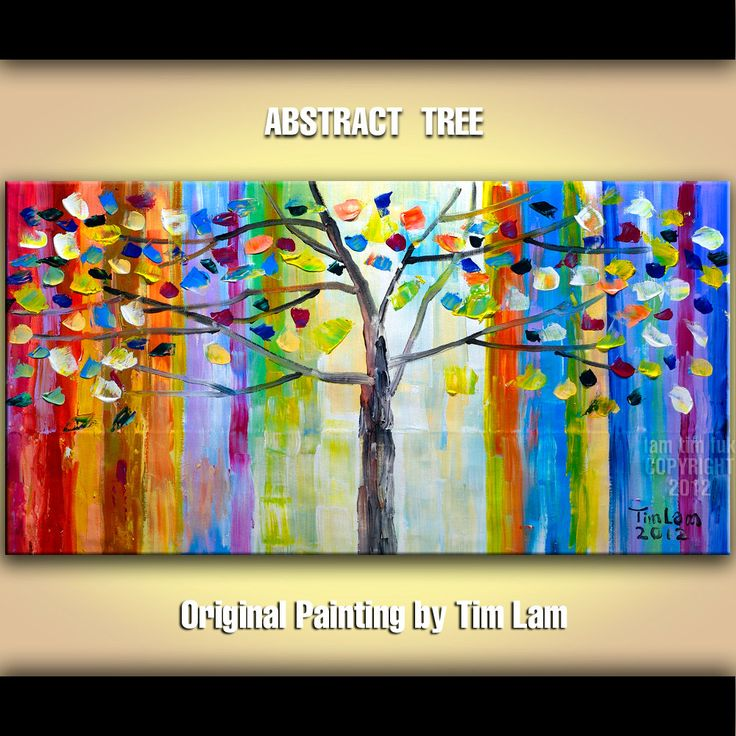 Abstract Tree, Contemporary Huge Decorative original Modern Thick Impasto Texture painting 48x24. $318.00, via Etsy.