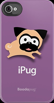 """Tugg the Pug iPhone and iPod Cases (Purple) by boodapug. File this under """"absolutely necessary."""""""