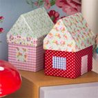 Tygklädda husaskar   ... paper mache' house boxes covered in pretty patterned fabric or wash tape.