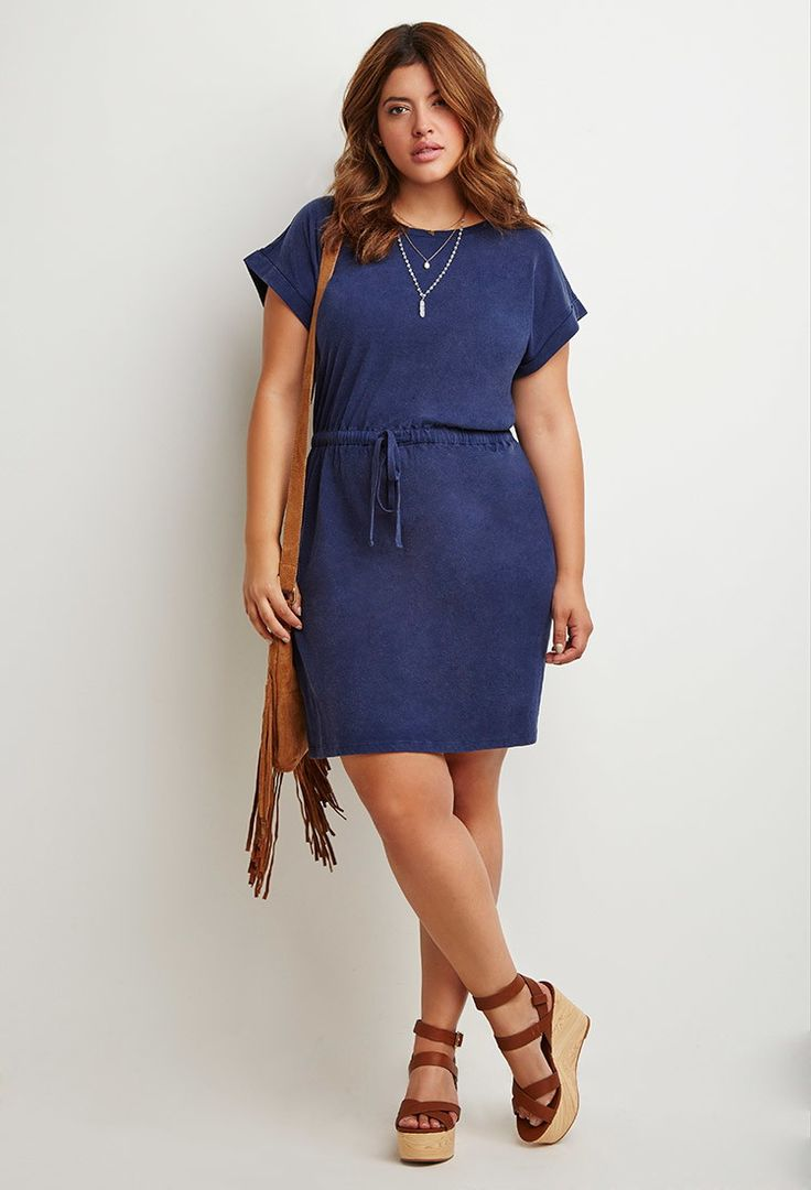 Plus Size Caged-Back Drawstring Dress   Forever 21 PLUS - 2000174394