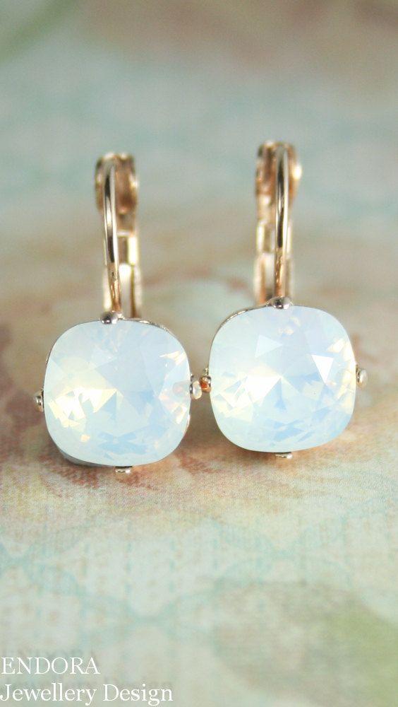 white opal crystal earrings,crystal earrings,10mm square swarovski crystal leverback earrings,square crystal earrings,white opal earrings