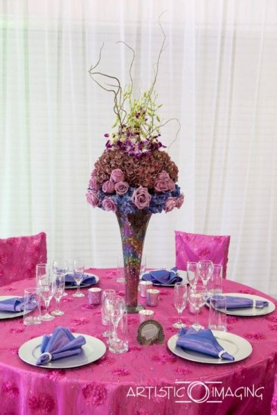 Awe Inspiring Reception Table Décor Perfect For Autumn Las Vegas Weddings Find This Pin And More On Hot Pink Deep Purple Wedding