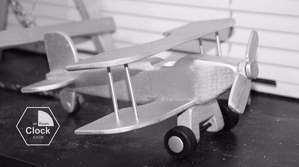 art Room Clock - Клок - Биплан - Самолет - из дерева - серебро  workshop
